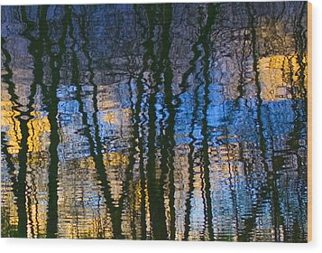 Blue And Yellow Abstract Reflections Wood Print by Pixie Copley