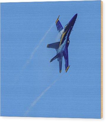 Wood Print featuring the photograph Blue Angel 5 Contrails by Randy Scherkenbach