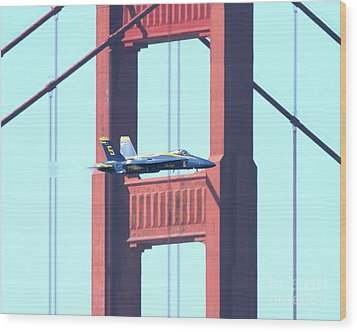 Blue Angels Crossing The Golden Gate Bridge 10 Wood Print by Wingsdomain Art and Photography