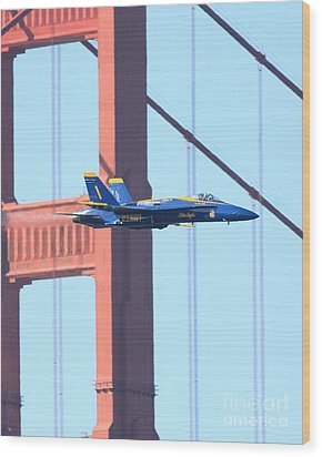 Blue Angels Crossing The Golden Gate Bridge Wood Print by Wingsdomain Art and Photography