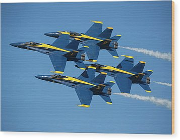 Wood Print featuring the photograph Blue Angels Diamond Formation by Adam Romanowicz