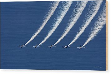 Blue Angels Formation Wood Print by John A Rodriguez