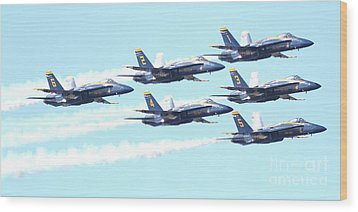Blue Angels Hornet F18 Supersonic Jet Airplane . 7d2672 Wood Print by Wingsdomain Art and Photography