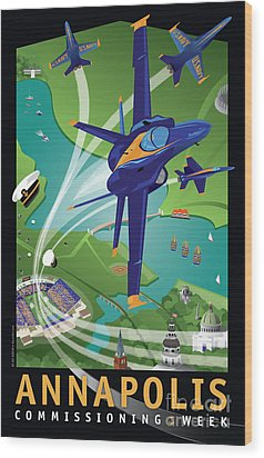 Blue Angels Over Annapolis Usna Wood Print