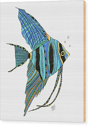 Blue Anglefish Wood Print