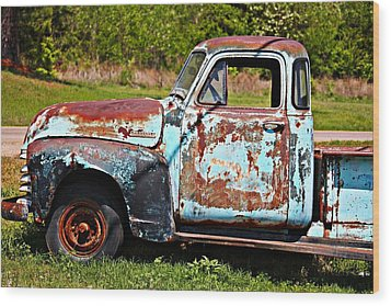 Blue Antique Chevy Truck- Fine Art Wood Print by KayeCee Spain
