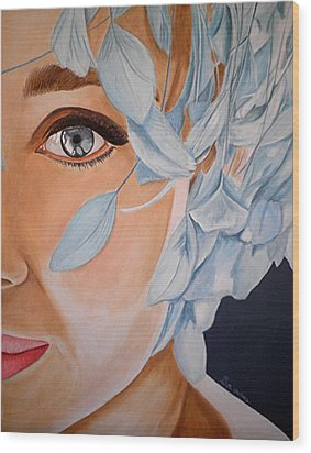Blue Audrey Wood Print by Al  Molina