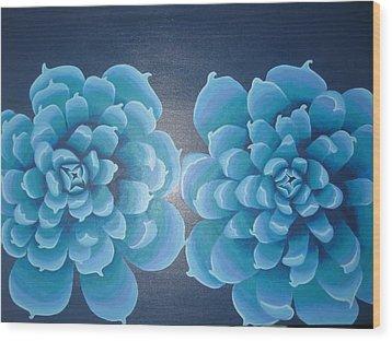 Blue Autum Wood Print by Sarah England-Rocca