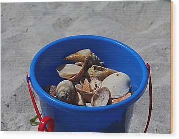 Wood Print featuring the photograph Blue Beach Bucket by Michiale Schneider