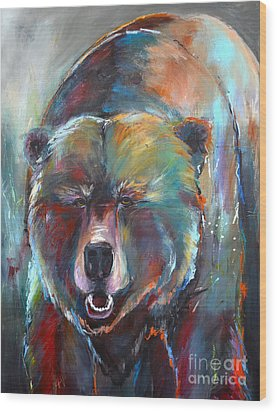 Wood Print featuring the painting Blue Bear by Cher Devereaux