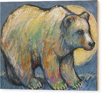 Blue Bear Grizzly Bear In A Full Moon Wood Print