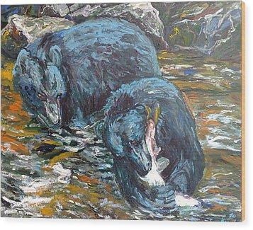 Wood Print featuring the painting Blue Bears Fishing by Koro Arandia