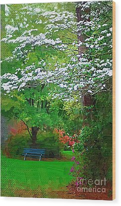 Wood Print featuring the photograph Blue Bench In Park by Donna Bentley