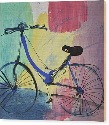 Blue Bicycle Wood Print by Amara Dacer