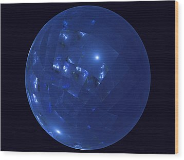 Blue Big Sphere With Squares Wood Print