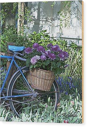 Blue Bike Wood Print by Cheri Randolph