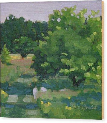 Blue Bird Alley Wood Print by Barbara Jones