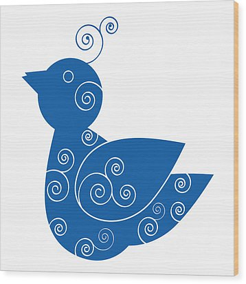Blue Bird Wood Print by Frank Tschakert