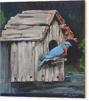 Wood Print featuring the painting Blue Bird On Lake Odom by Jan Dappen