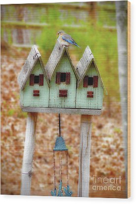 Blue Birds Castle Wood Print by Laura Brightwood