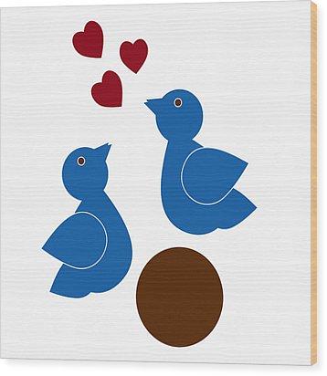 Blue Birds Wood Print by Frank Tschakert