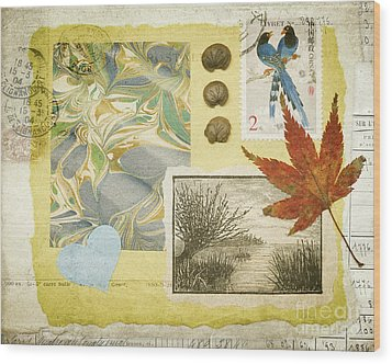 Wood Print featuring the mixed media Blue Birds Collage by Jan Bickerton