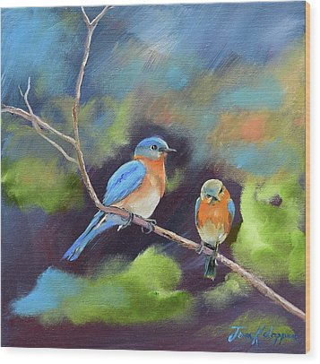 Wood Print featuring the painting Blue Birds - Soul Mates by Jan Dappen