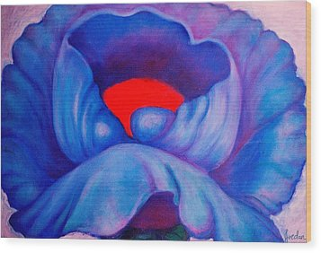 Blue Bloom Wood Print by Jordana Sands
