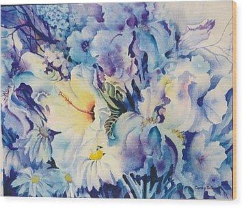 Blue-blossoms Wood Print by Nancy Newman