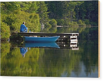 Blue Boat Wood Print by Brent L Ander