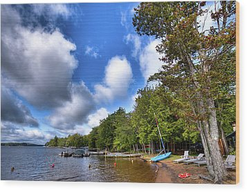 Wood Print featuring the photograph Blue Boat On The Shore by David Patterson