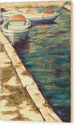 Blue Boats At Llangorse Wales Wood Print by Judy Adamson