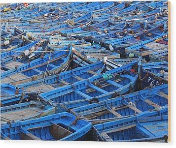 Wood Print featuring the photograph Blue Boats Of Essaouira by Ramona Johnston