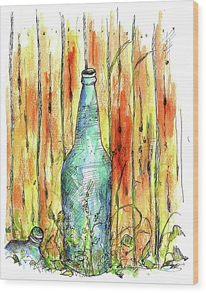 Wood Print featuring the painting Blue Bottle by Cathie Richardson