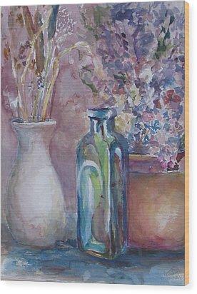 Blue Bottle Wood Print by Dorothy Herron