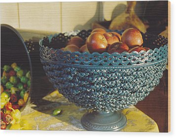 Blue Bowl Wood Print by Jan Amiss Photography