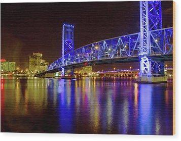 Wood Print featuring the photograph Blue Bridge 2 by Arthur Dodd