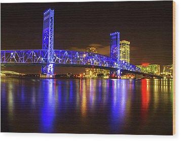 Wood Print featuring the photograph Blue Bridge 3 by Arthur Dodd