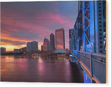 Blue Bridge Red Sky Jacksonville Skyline Wood Print by Debra and Dave Vanderlaan