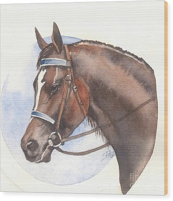 Wood Print featuring the painting Blue Bridle by Sandra Phryce-Jones