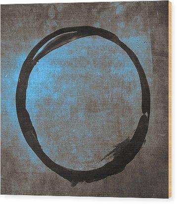 Blue Brown Enso Wood Print