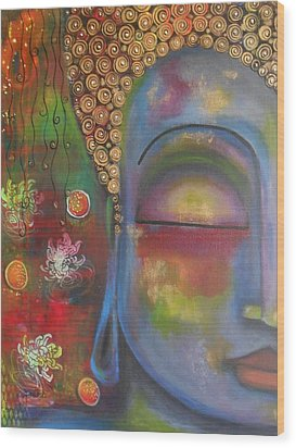 Buddha In Blue Meditating  Wood Print by Prerna Poojara