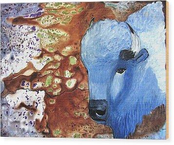 Blue Buffalo Wood Print by David Raderstorf