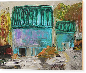 Blue Buildings Together-musing Wood Print by John Williams