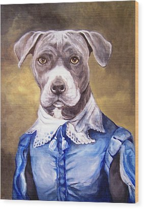 Wood Print featuring the painting Blue Bully Boy by Laura Aceto