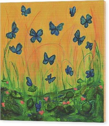 Blue Butterflies In Early Morning Garden Wood Print