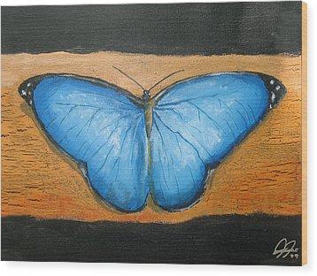 Blue Butterfly Wood Print by Christian  Hidalgo