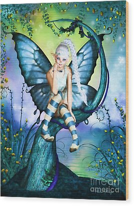 Blue Butterfly Fairy In A Tree Wood Print