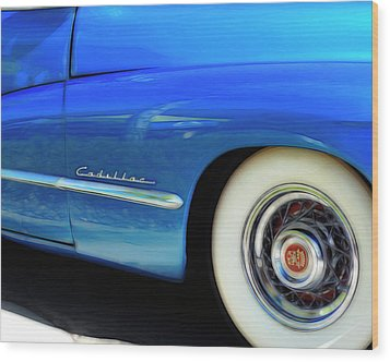 Blue Cadillac - Classic Car Wood Print by Ann Powell