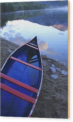 Blue Canoe Wood Print
